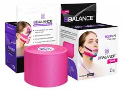 Кинезио тейп для лица BBTape 5см x 5 м шелк розовый (FACE PACK ICE)