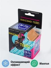 EМ-FIX sport Fresh Menthol кинезиотейп усиленная фиксация цвет бежевый 5см х 5м с запахом ментола и эффектом охлаждения